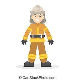 Isolated cartoon firefighter.