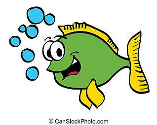 Isolated cartoon fish was smiling happily with water bubbles