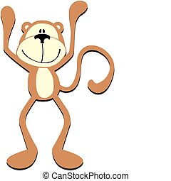 hands up - isolated cartoon happy monkey with hands up, ...