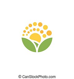Isolated cartoon nature landscape with meadow logo. Summer sunset, sunrise, countryside panorama. Round shape natural environment logotype. Green color leaves and bright flower petals icon.