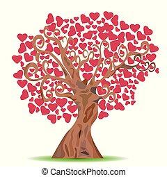 cartoon red heart tree