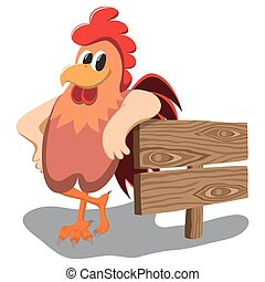 Isolated cartoon rooster over white background. - Cartoon...
