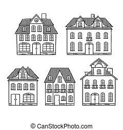 isolated., casas, antigas, desenho, mão