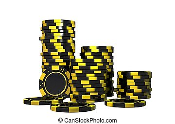 Isolated Casino Chips 3D