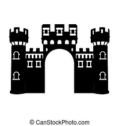 Isolated castle silhouette