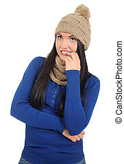 Isolated Casual Woman - Isolated young casual woman worried