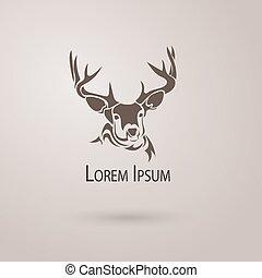 isolated., cervo, vettore, silhouette