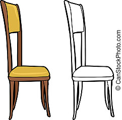 Isolated Chair - Single isolated dining chair on white...