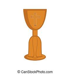 Isolated chalice icon. Catholic object. Vector illustration...