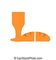 Isolated chalice with a bread