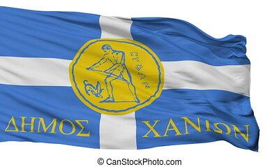 Isolated Chania city flag, Greece