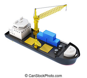 isolated., chargeur, rendre, bateau, grue, 3d