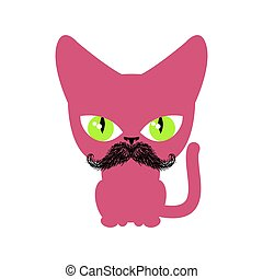 isolated., chat, chouchou, hipster, fond, blanc, moustache