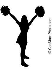 Isolated cheerleader silhouette - A Isolated cheerleader...