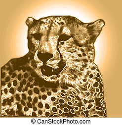 Isolated Cheetah face in gold brown gradient colors (VB)