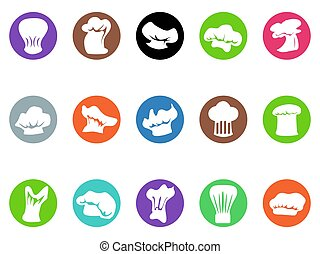 chef hat round button icons