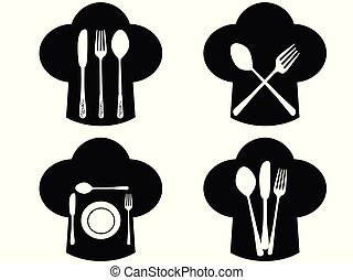 Chef hat with fork, knife and spoon icons