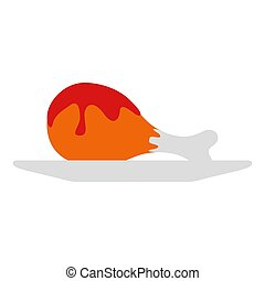 Isolated chicken with barbecue sauce - Vector image