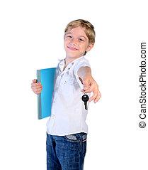 isolated child boy notebook key