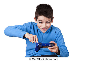 isolated child playing video games