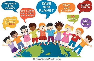 Isolated children of different culture and multiethnic people embracing each other on the globe. Speech bubble with messages for an eco environment and a green and sustainable future. Save our planet