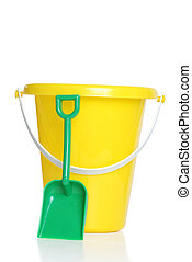 childs pail and shovel - isolated childs pail and shovel