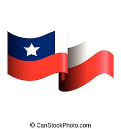 Isolated Chilean flag on a white background, Vector illustration