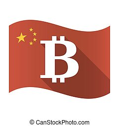 Isolated China flag with a bit coin sign