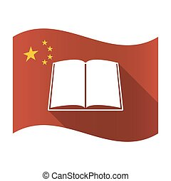 Isolated China flag with a book