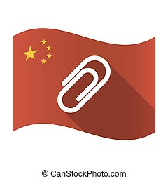 Isolated China flag with a clip
