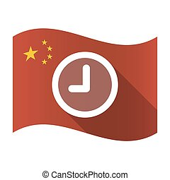 Isolated China flag with a clock