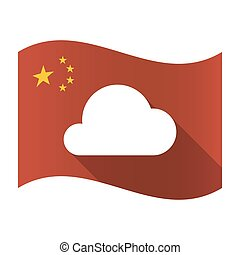 Isolated China flag with a cloud