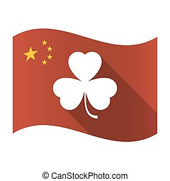 Isolated China flag with a clover