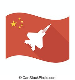 Isolated China flag with a combat plane