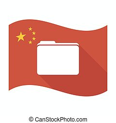 Isolated China flag with a folder