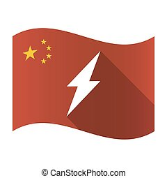 Isolated China flag with a lightning