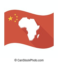 Isolated China flag with a map of the african continent