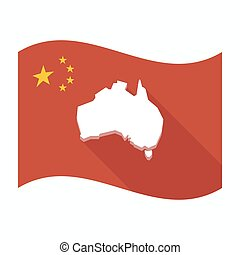Isolated China flag with  a map of Australia
