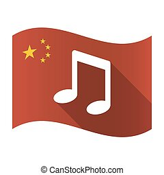 Isolated China flag with a note music