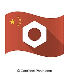 Isolated China flag with a nut
