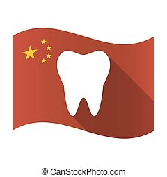 Isolated China flag with a tooth