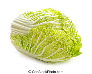 Isolated chinese cabbage - Whole green chinese cabbage head...