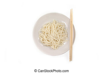 noodle - isolated chinese noodle and chopsticks