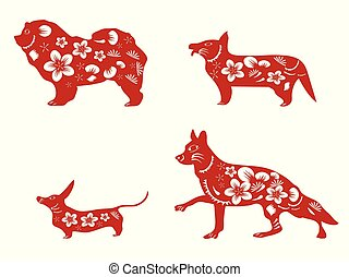 chinese red dogs paper cut