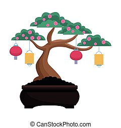 Isolated chinese tree with flowers and lanterns vector design