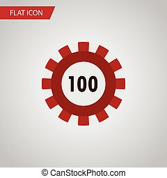Isolated Chip Flat Icon. Poker Vector Element Can Be Used For Poker, Casino, Chip Design Concept.