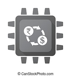Isolated chip with  a rupee and dollar exchange sign