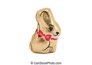 Isolated chocolate bunny Easter symbol on white - Chocolate...