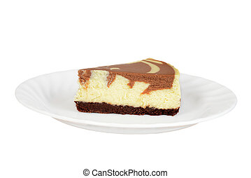 isolated chocolate cheesecake