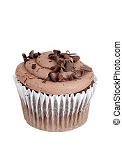 Chocolate cupcake in white wrapper